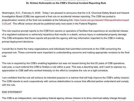 Statement from CSB on the Chemical Incident Reporting Rule