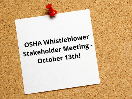 OSHA Stakeholder Meeting - October 13th!