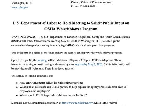 OSHA to Solicit Public Input on OSHA Whistleblower Program
