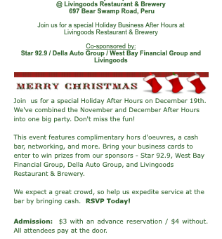 North Country Chamber's Business After Hours December 19th!