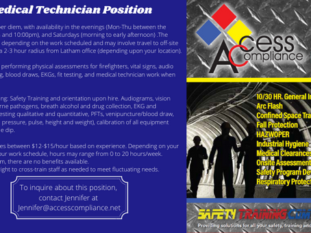 Medical Technician Position at our Latham Office!