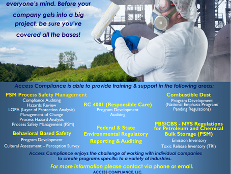 We offer EHS Services in Accordance with OSHA 1910.119!