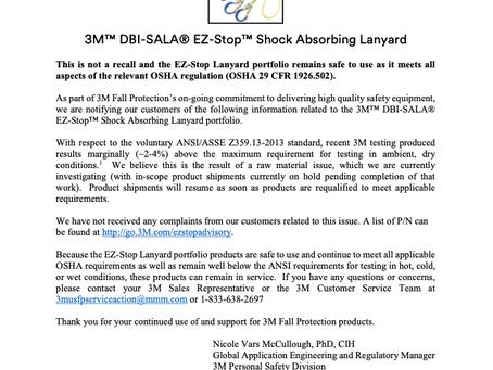 PRODUCT ADVISORY - 3M DBI-SALA® EZ-Stop Shock Absorbing Lanyard
