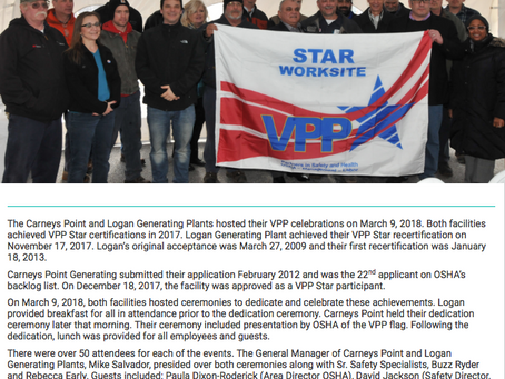 Congratulations Carneys Point and Logan Generating Plants!
