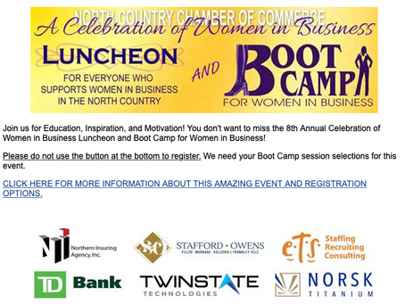 Don't forget, the North Country Chamber Women in Business event is next week!