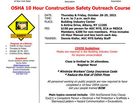 NESCA/AGC/ ECA Seminar – OSHA 10 Construction Safety Outreach Course: October 28th - 29th!