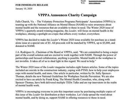 VPPPA Announces Charity Campaign
