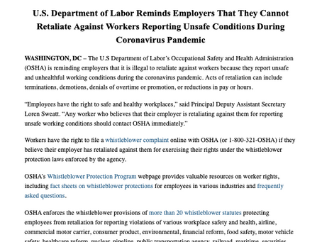 Reminder: Employers Cannot Retaliate Against Workers Reporting Unsafe Conditions