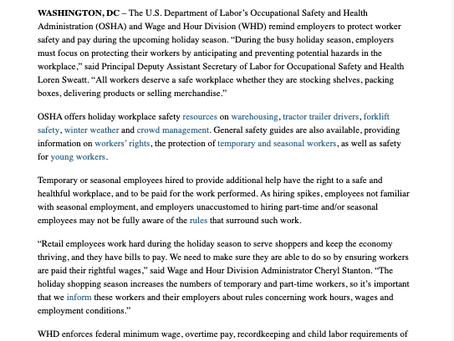US DOL News Release - Worker Safety During the Holiday Season