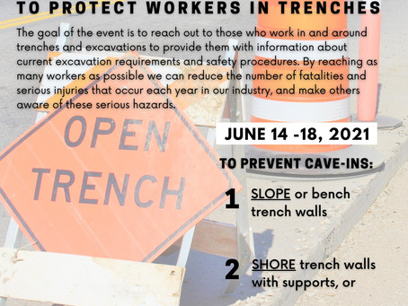 Trench Safety Stand Down Week is June 14-18!