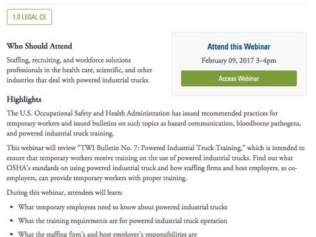 Free Webinar on the TWI Bulletin on Powered Industrial Trucks on February 9th