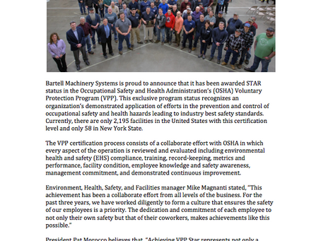 Congratulations Bartell Machinery Systems for achieving Star status!
