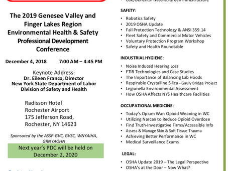 5th Annual Genesee Valley & Finger Lakes Region EHS Professional Development Conference - December 4