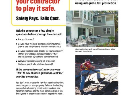 2020 National Safety Stand Down To Prevent Falls in Construction - May 4th-8th!