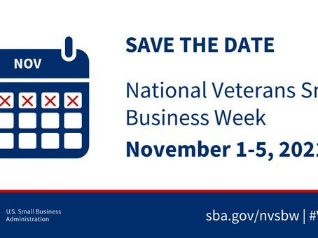 Save the Date: National Veterans Small Business Week is November 1st - 5th!