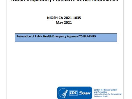 NIOSH Certificate of Approval Revoked for PLASMA N95-10