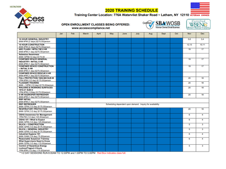 Here is our current training schedule for the rest of this year.