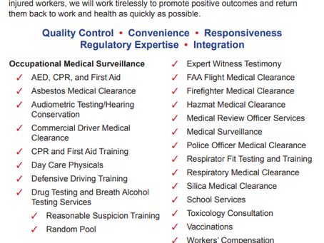 What occupational medical surveillance services can we assist you with?