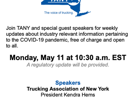 TANY Update Call: COVID-19 & The Trucking Industry - May 11, 10:30 AM