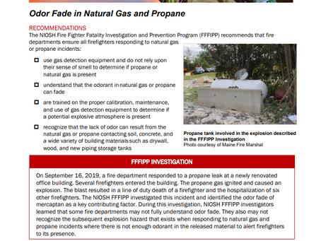 NIOSH Safety Advisory: Odor Fade in Natural Gas and Propane