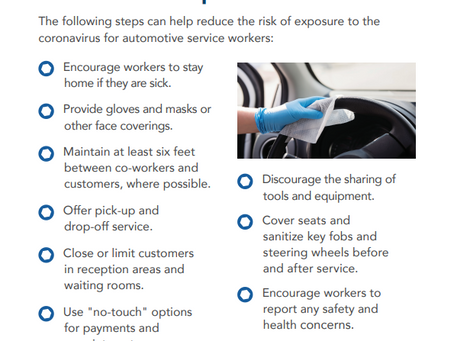 OSHA's COVID-19 Tip of the Day - Offer customers vehicle pick-up and drop-off service.