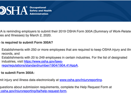 Reminder: Electronic Submission of OSHA Form 300A