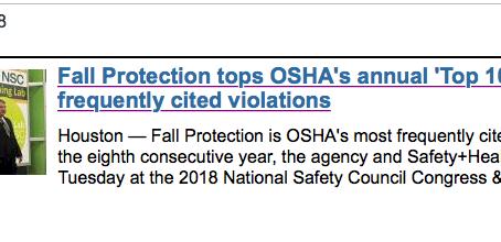 Fall Protection tops OSHA's annual 'Top 10' list