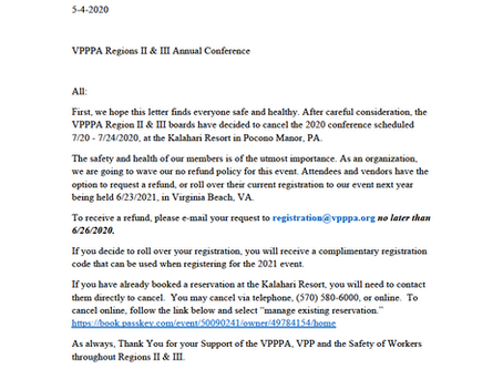 IMPORTANT CANCELLATION NOTICE -VPPPA Region II & III 2020 Conference