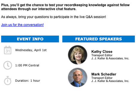 Test Your DOT Recordkeeping Knowledge  Free Webcast