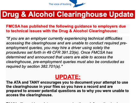 UPDATE: FMCSA Issues Drug and Alcohol Clearinghouse Guidance