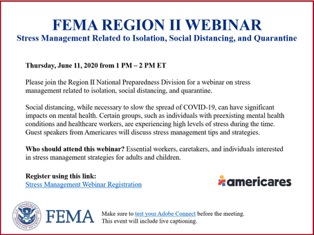 TODAY - FEMA Region II Webinar- Stress Management Related to Isolation and Social Distancing