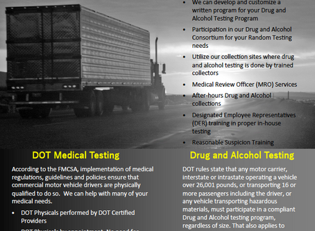 Our services will help you stay in compliance with DOT medical testing and drug and alcohol testing!