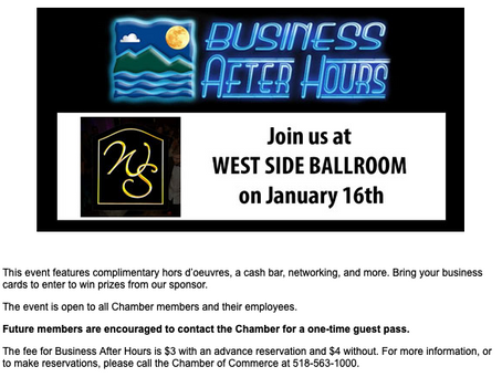 North Country Chamber's January Business After Hours - January 16th!
