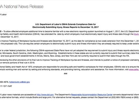 OSHA Extends Reporting Deadline