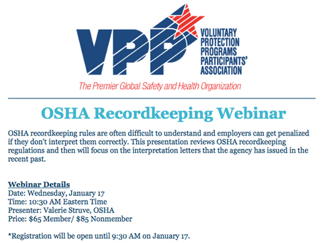 Tomorrow is the VPP OSHA Recordkeeping Webinar!