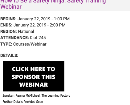 Have you registered for the How to Be a Safety Ninja: Safety Training Webinar on January 22nd?