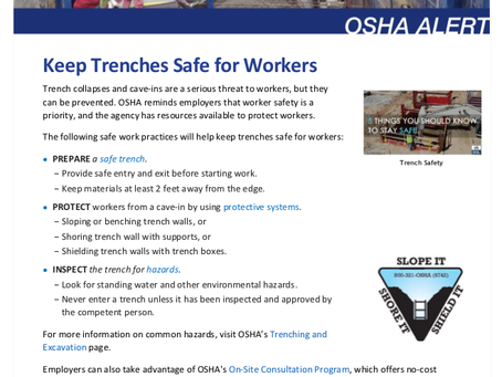 Keep Trenches Safe for Workers: OSHA Alert
