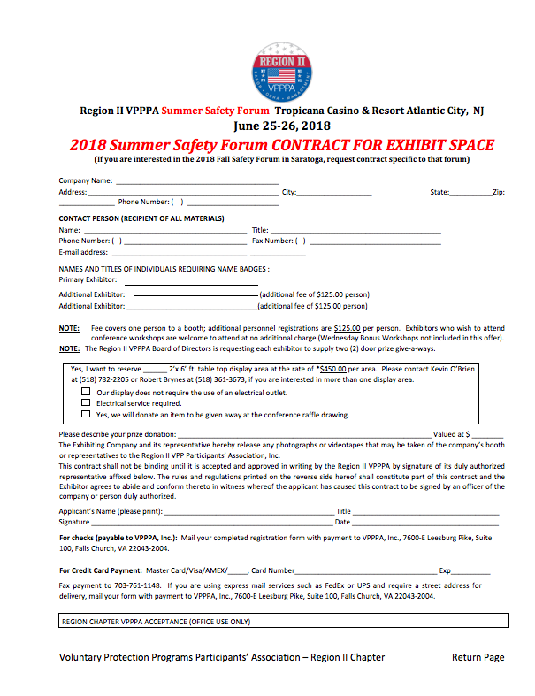 Exhibitor Opportunity at our Summer Safety Forum