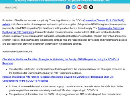 NIOSH eNEWS FLASH - Strategies for Optimizing the Supply of N95 Respirators