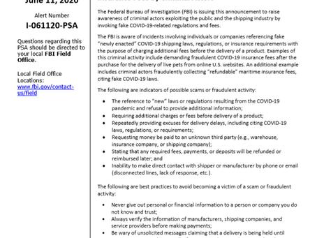 FBI PSA - Fraudulent COVID-19 Shipping and Insurance Fees