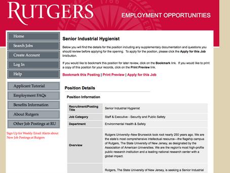 Job Opportunity at Rutgers