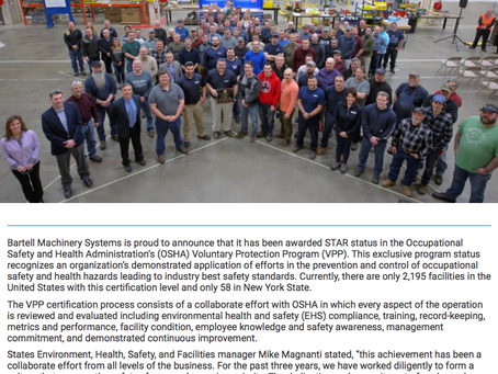 New VPP Star Site: Bartell Machinery Systems!