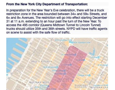 Travel Advisory: NYC Truck Restrictions for New Year's Eve
