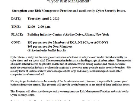 ECA/NESCA/AGC Joint Educational Program on Cyber Risk Management - April 2nd