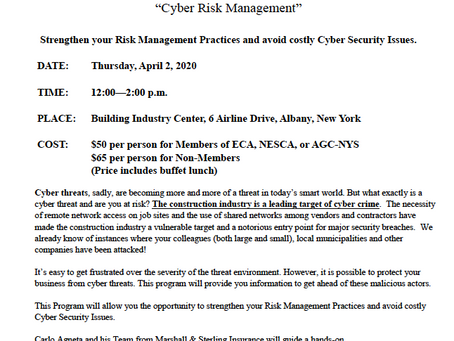 ECA/NESCA/AGC Joint Educational Program on Cyber Risk Management - April 2nd