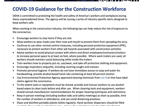 OSHA alert - COVID-19 Guidance for the Construction Workforce