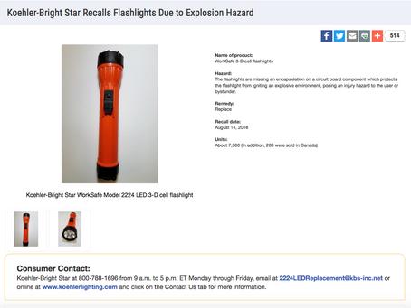 Koehler-Bright Star Recalls Flashlights Due to Explosion Hazard