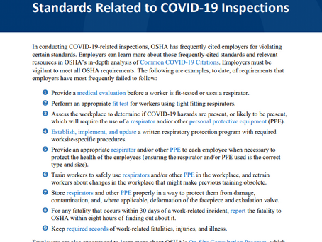 Lessons Learned: Frequently Cited Standards Related to COVID-19 Inspections