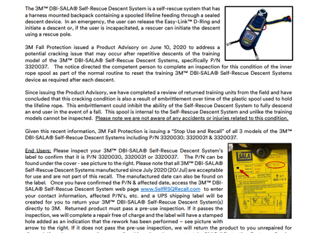 3M™ DBI-SALA® Self-Rescue Descent Systems P/N 3320030,31 & 37 - Stop Use and Product Recall