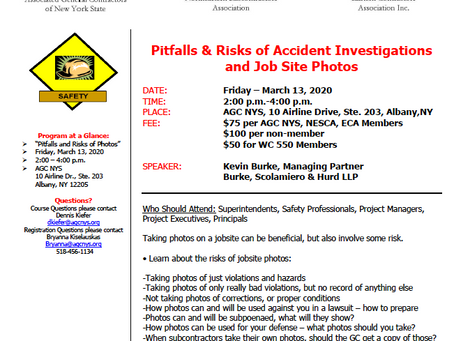 NESCA/AGC/ECA Seminar - Pitfalls and Risks of Accident Investigations and Job Site Photos - March 13